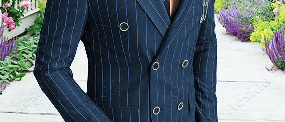 Men's Suit  Slim Fit 2 Piece Striped Double Breasted  Business Blazer