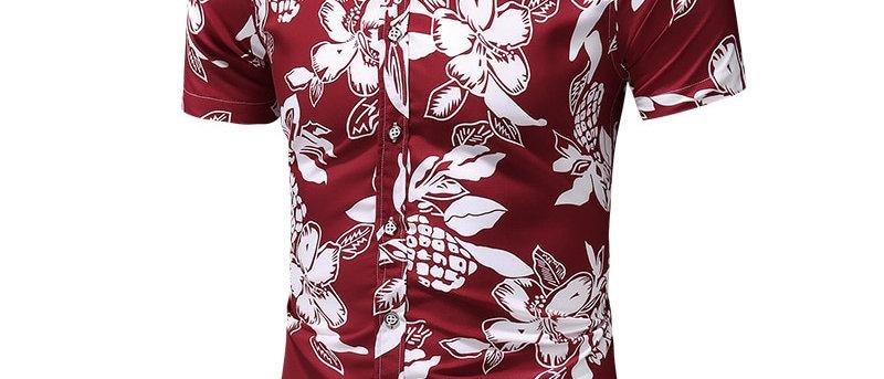 Short Sleeve Hawaiian Shirt Male Casual Flower Slim Fit Beach Shirts Plus M-7xl