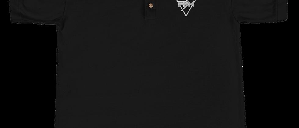 Full Power Muzik White & Black Embroidered Polo Shirt