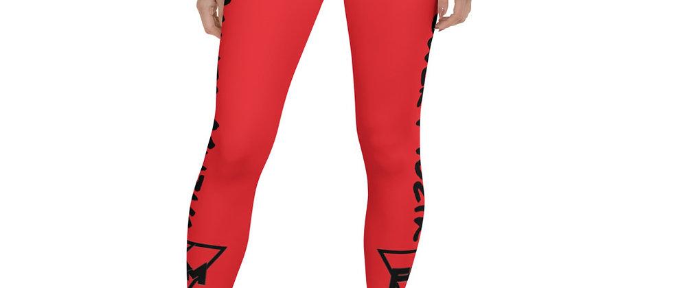 Full Power Muzik Red & Black Leggings