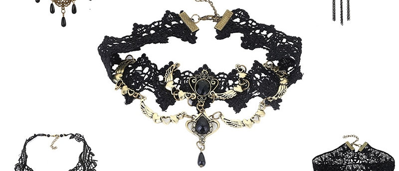 Gothic Chokers Black Stone , Choker Necklace Vintage Victorian