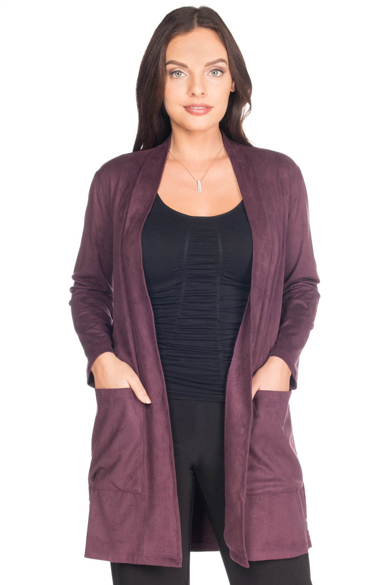 Suede Open Front Jacket With Pockets  -
