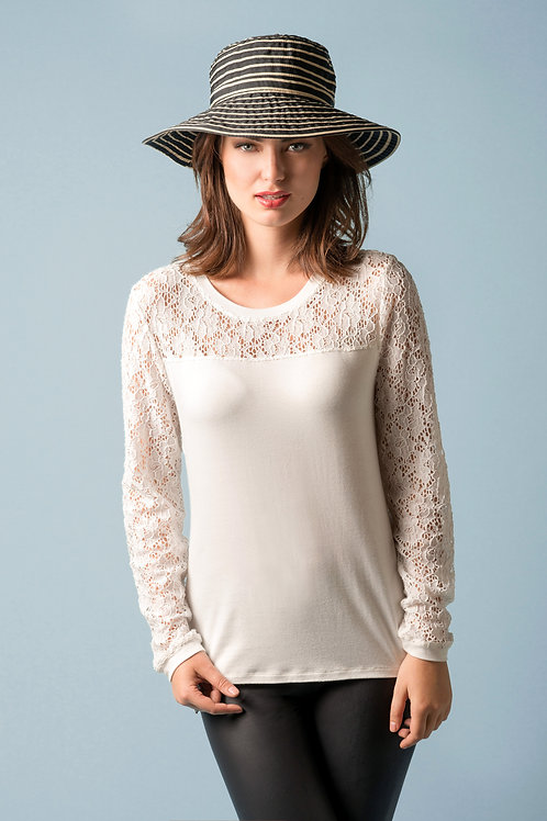 Lace Contrast Banded Long Sleeve