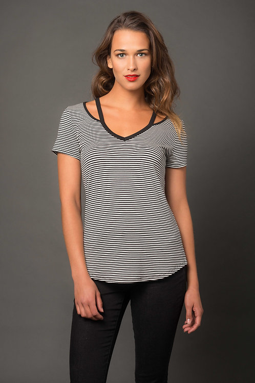 V-Neck Cutout Stripe Top