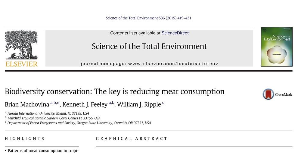 Artigo mostra como a chave para conservação da biodiversidade é redução no consumo de carne