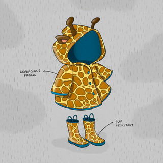 Children's raincoat and matching giraffe boots