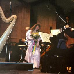 Jana Boušková as the winner of the International Harp Competition, 1992