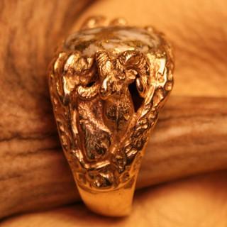 Gold and Quartz-Gold custom Ram ring