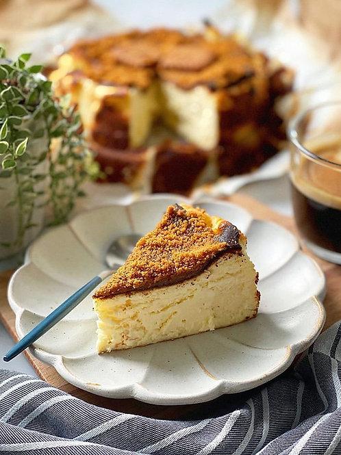"""7"""" Salted Caramel Biscotti Basque Cheesecake"""