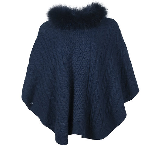 Poncho with fur collar
