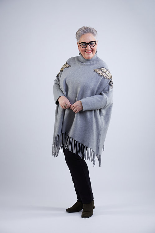 Embroided poncho