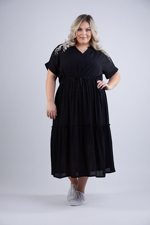 Flare dress with tie band