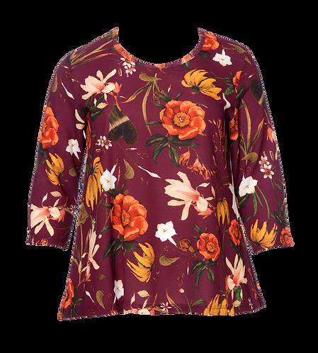 Amber red flower blouse