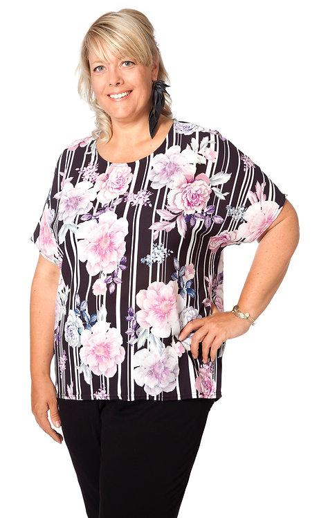 Pink flower stripe top