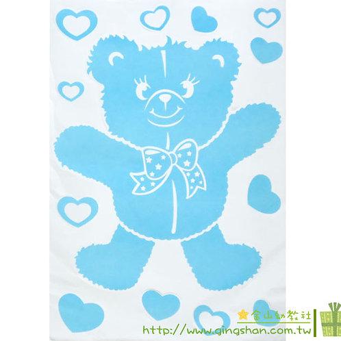 愛心熊無痕壁貼