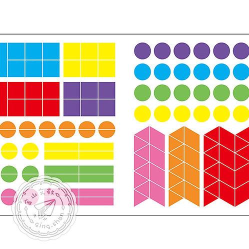 [編號: 20408-2 ] 七彩形狀貼紙100張
