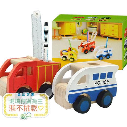 [編號: 40896-2 ]木頭玩具車筆筒