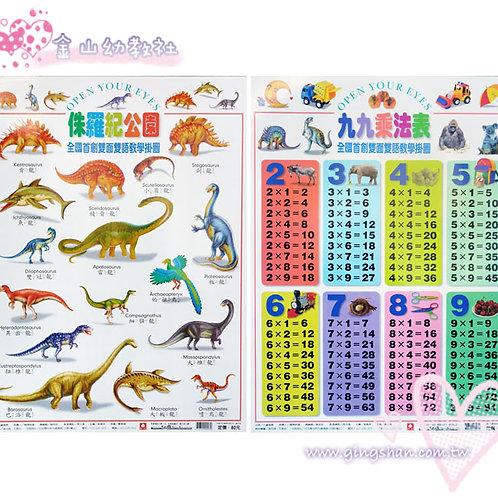 侏羅紀‧99乘法 雙面掛圖