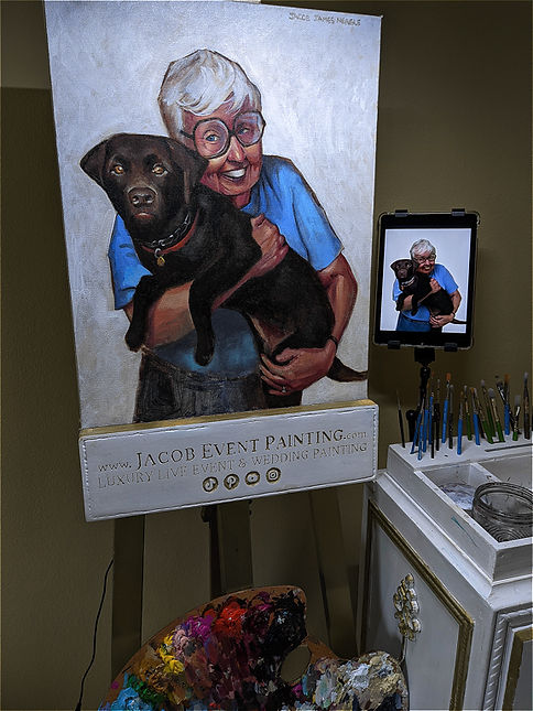 Jacob Event Painting_grandmother and pup