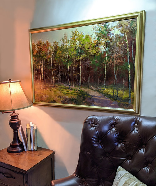 """""""Walk in The Forest"""" ready to hang original painting 25in x 36in"""