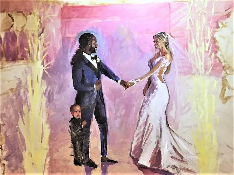 Ritz Carlton Key Biscayne wedding ritz carlton wedding miami wedding Jacob Event Painting live wedding painter live wedding painting african american wedding