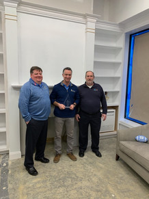2018 Mitsubishi Outstanding Acheivement Award. Mark Boyd of Mitsubishi, Tom Stackpole of Gold Coast Home Comfort, and Donald Vaas of ABCO.