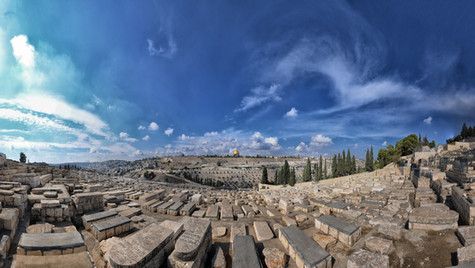 Photograph from the Mount of Olives on the Mount of Olives towards the Old City