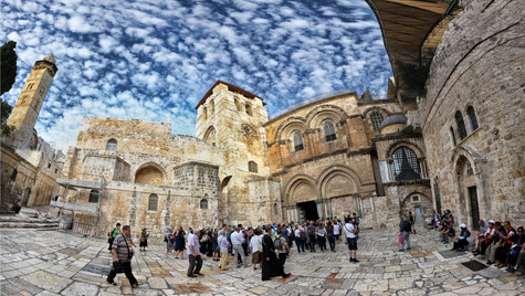 The entrance to the Holy Sepulcher