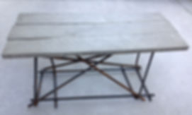 Concrete Barnwood Table Bench with Rebar Base