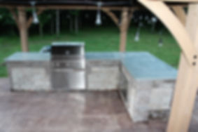 Outdoor concrete countertops with built-in grill