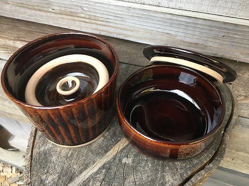 小石原焼のお手軽浅漬け鉢と漬物入れ飴色