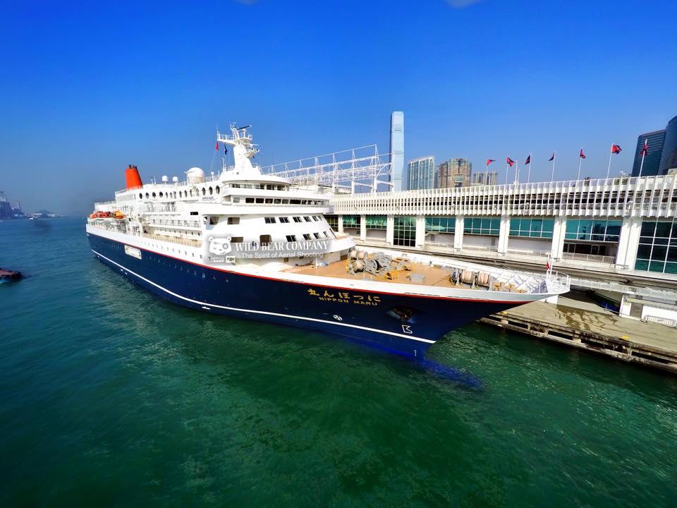 """日本首次泊岸香港""""Nippon Maru""""郵輪航拍"""