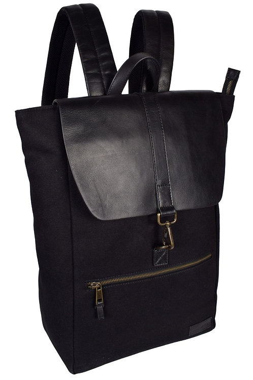Classic Leather and Canvas Satchel Backpack