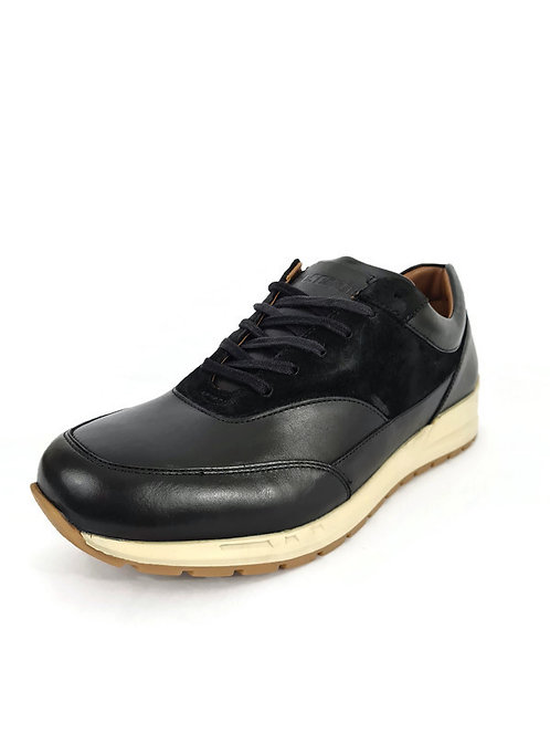 Classic Mens Leather Trainers in Black