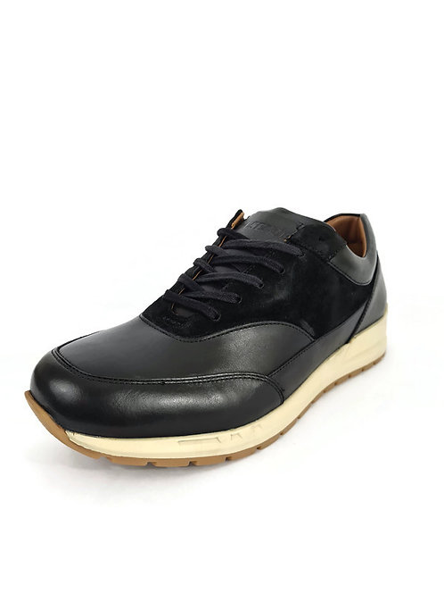 Handcrafted Classic Men's Full-Grain Leather & Suede Trainers in Black