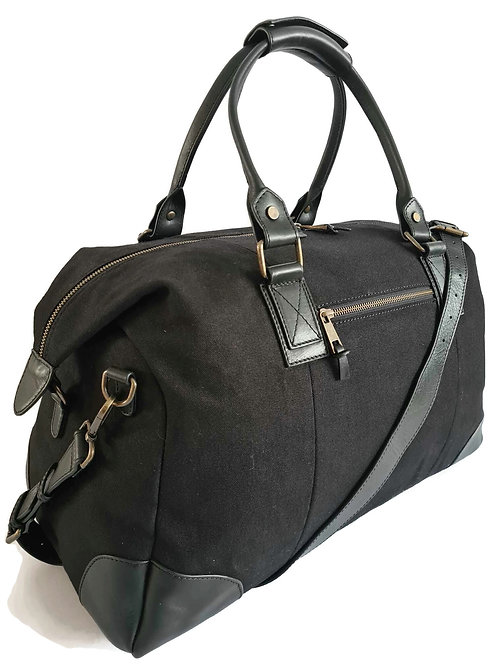 Handcrafted Classic Full-Grain Leather & Organic Canvas Holdall