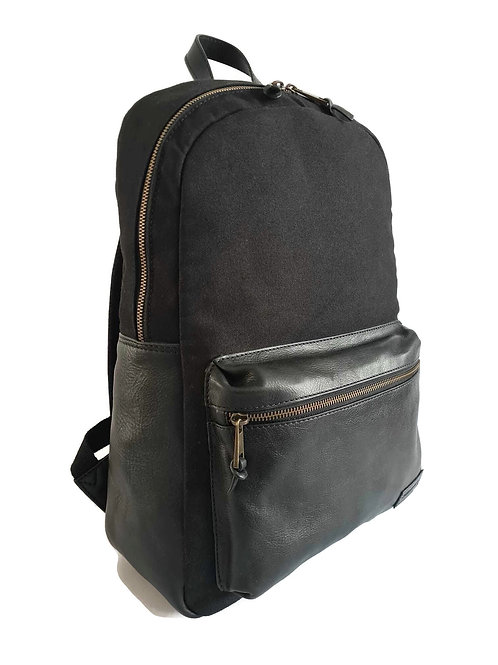 Handcrafted Classic Full-Grain Leather & Organic Canvas Backpack