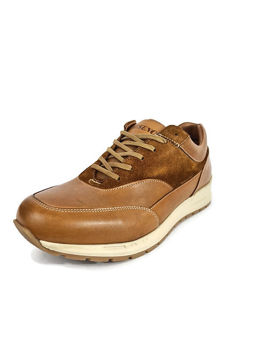 Handcrafted Classic Men's Full-Grain Leather & Suede Trainers in Brown Tan