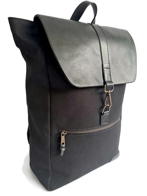 Handcrafted Classic Full-Grain Leather & Organic Canvas Satchel Backpack
