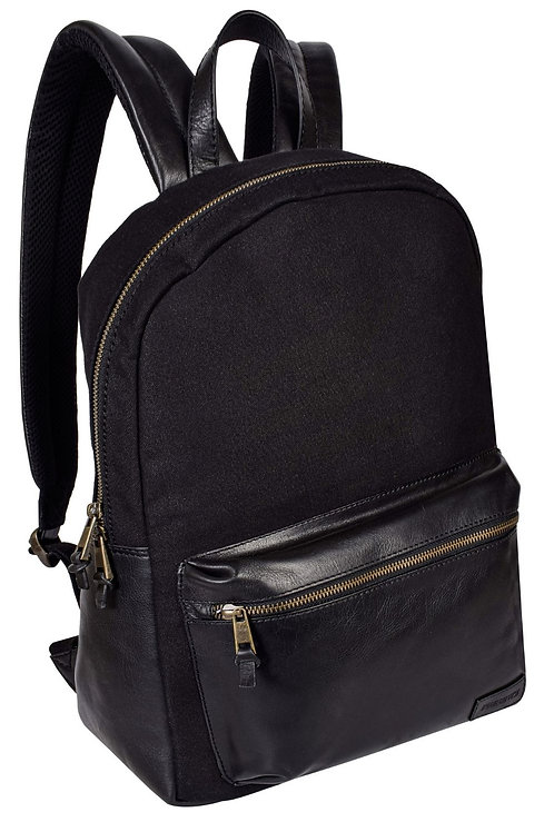 Classic Leather and Canvas Backpack