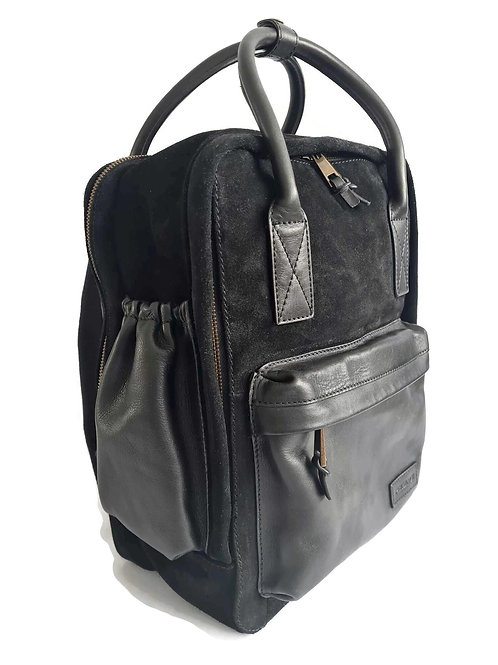 Handcrafted Classic Full-Grain Leather & Suede Daypack