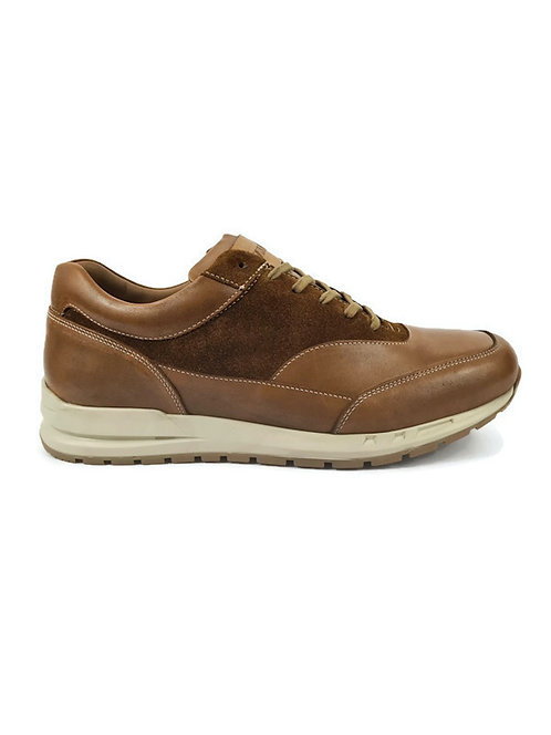 Classic Mens Leather Trainers in Brown Tan