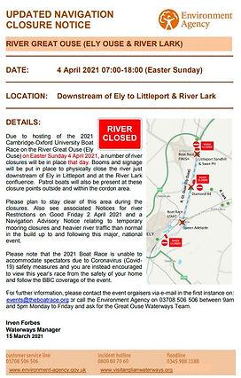 Boat Race Updated Closure Notice - 15 Ma