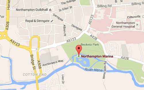 An Google Maps style map to show the location of Northampton Marina and surrounding roads.