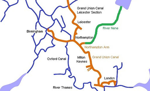 A location map giving an overview of how the River Nene and Grand Union Canal come together.