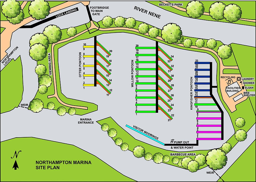 A plan of Northampton Marina showing the locations and numbers of the moorings and onsite facilities
