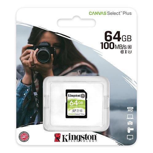 Memoria Kingston SD 64GB clase 10 100MB/s Canvas Select Plus