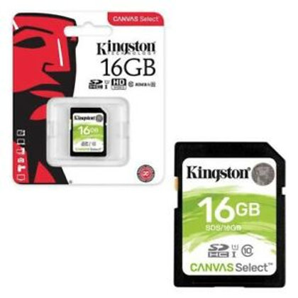 Memoria Kingston SD 16GB clase 10 80MB/s Canvas Select
