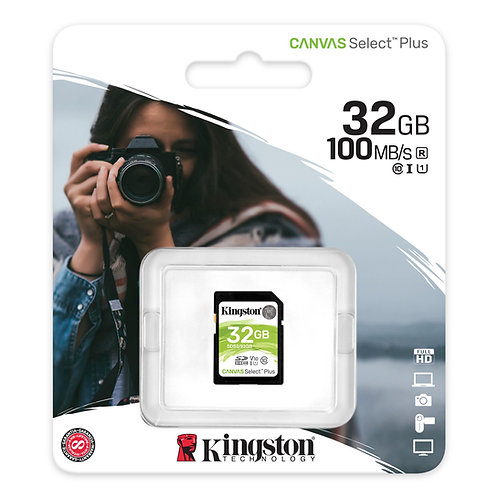 Memoria SD Kingston 32GB clase 10 100MB/s Canvas Select Plus