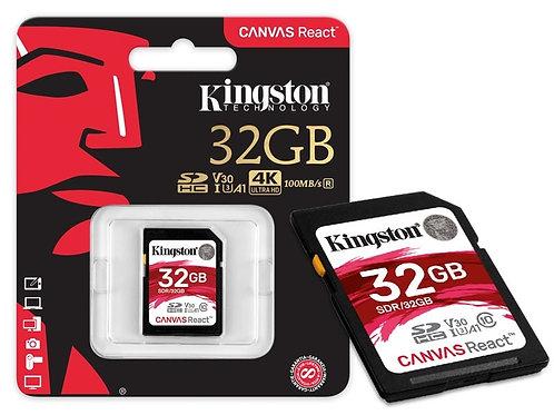Memoria Kingston SD 32GB 4K clase 10 100MB/s Canvas React